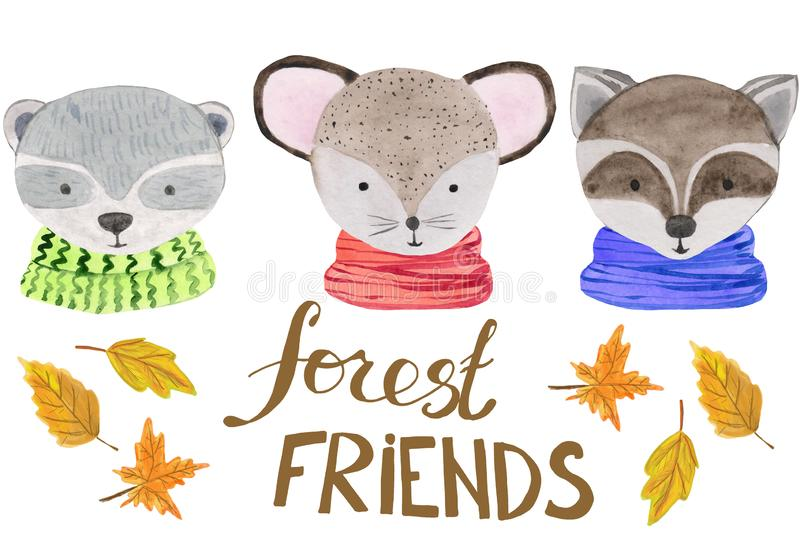 Cute portraits of forest animals in scarves on a white background with the words friends and autumn leaves. watercolor royalty free illustration