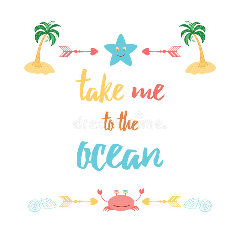 Download Cute Positive Quote With Watermelon And Saying U0027Take Me To The  Oceanu0027.