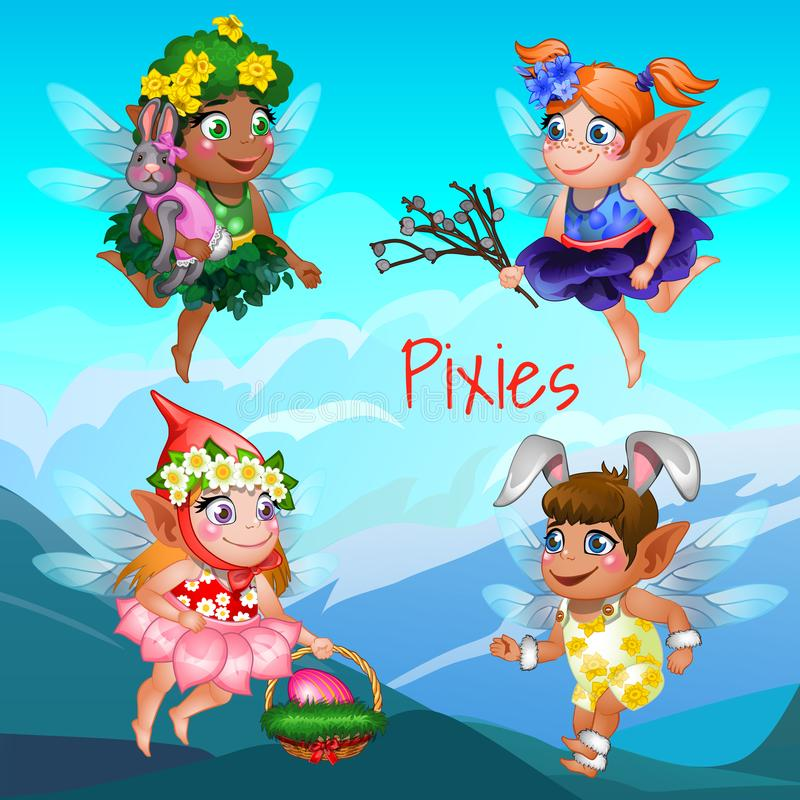 Cute poster with the little flying pixies with mountains in the background. Easter symbols the egg in the basket, the vector illustration