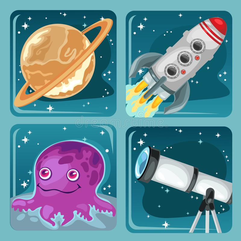 Cute poster on the theme of space exploration. Planet Saturn, flying rocket, astronomical telescope, alien purple stock illustration