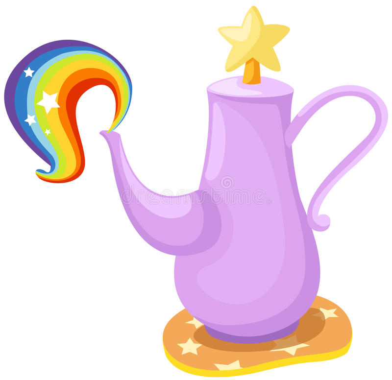 Cute pot with rainbow royalty free illustration