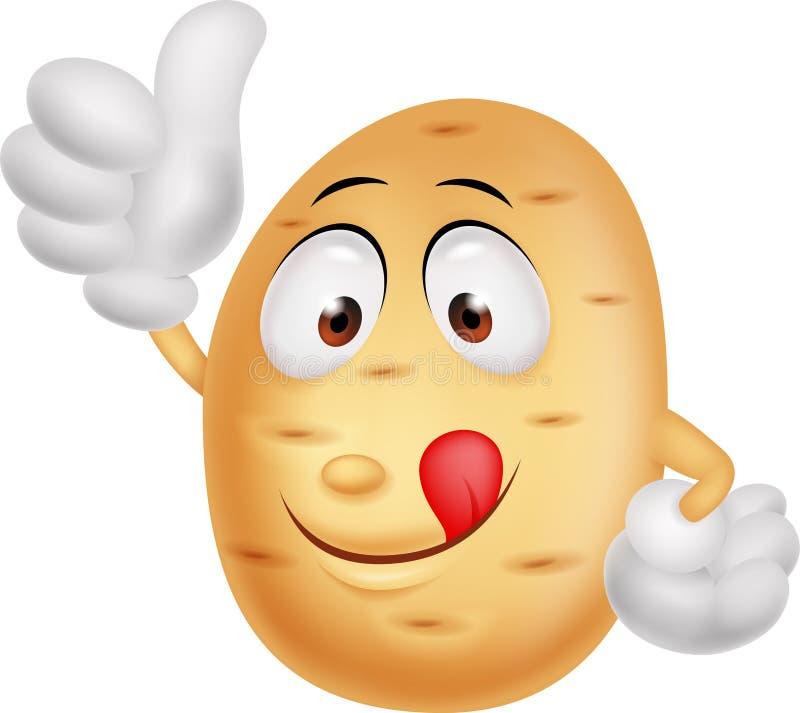 Cute potato cartoon thumb up vector illustration