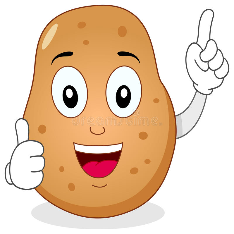 Cute Potato Character With Thumbs Up Stock Vector