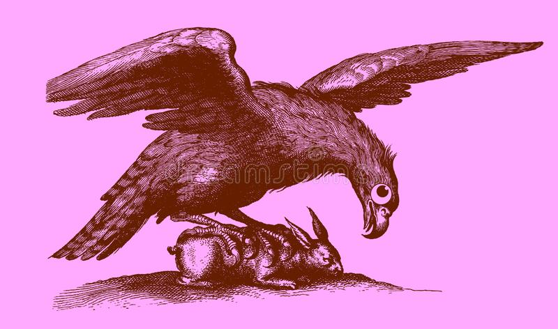 Cute predator: eagle with outstretched wings sitting on a captured rabbit. Illustration after a historic woodcut engraving from the 17th century. Easy editable royalty free illustration