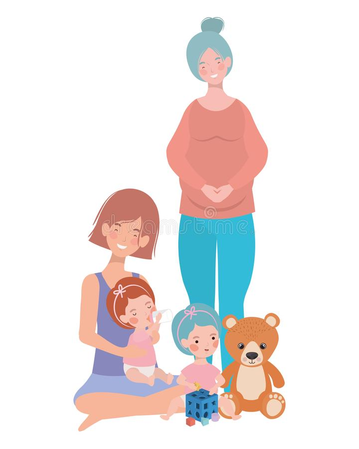 Cute pregnancy mothers with little babies characters. Vector illustration design vector illustration