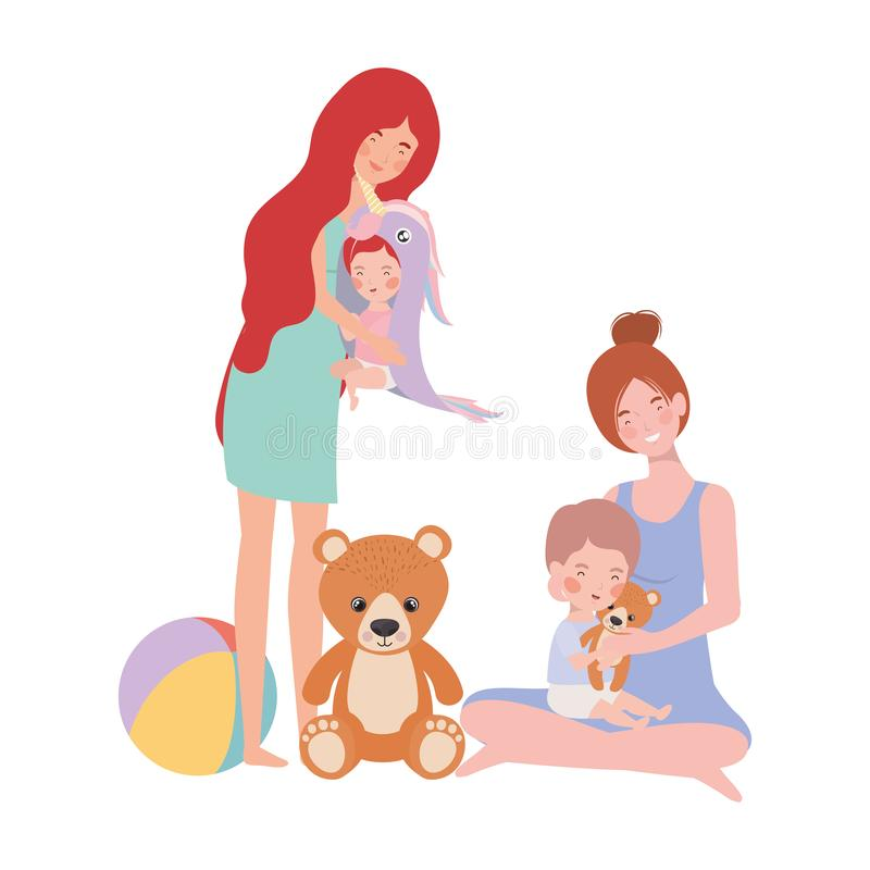 Cute pregnancy mothers with little babies characters. Vector illustration design royalty free illustration