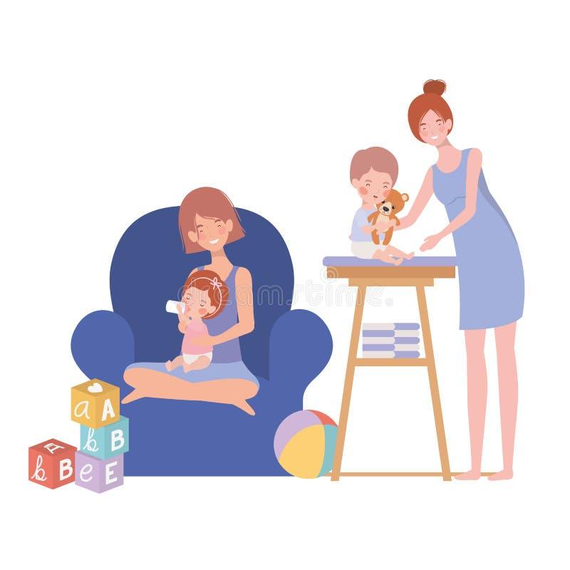 Cute pregnancy mothers with little babies in livingroom. Vector illustration design vector illustration