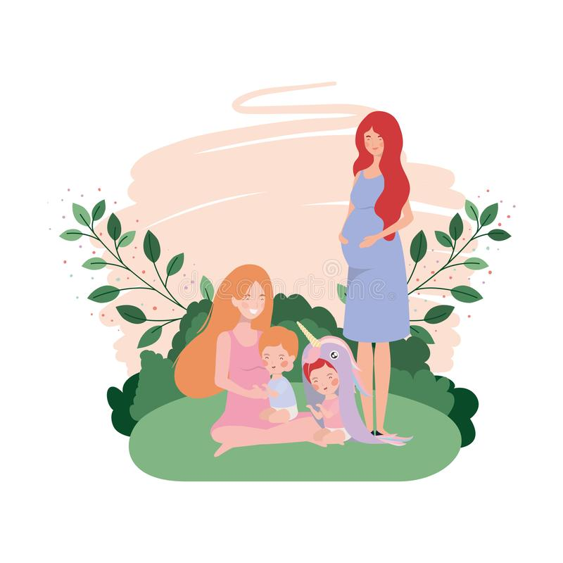 Cute pregnancy mothers seated lifting babies in the camp. Vector illustration design stock illustration