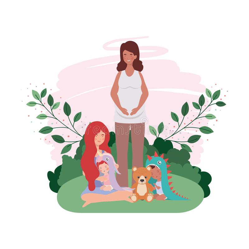 Cute pregnancy mothers seated lifting babies in the camp. Vector illustration design royalty free illustration