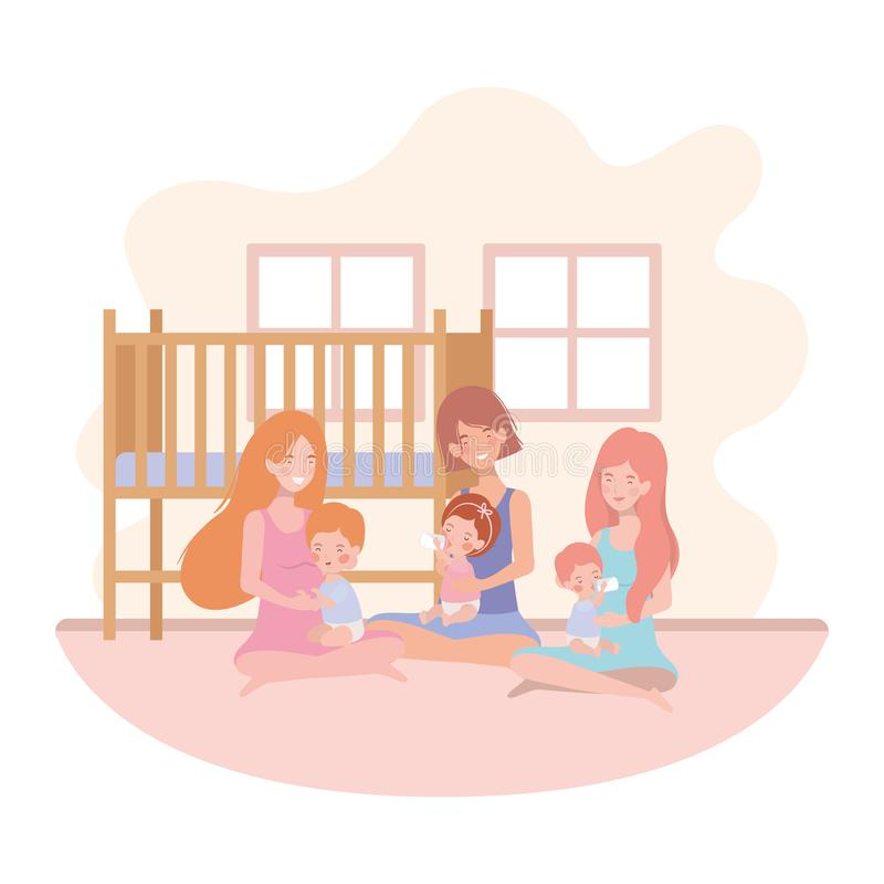Cute pregnancy mothers seated lifting babies in the room. Vector illustration design stock illustration
