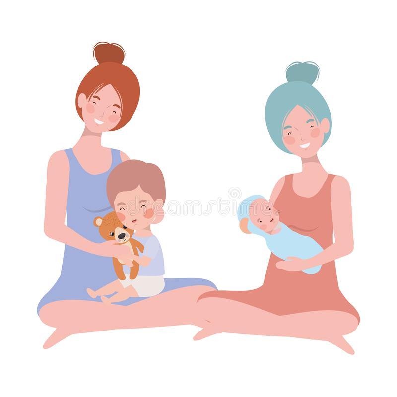 Cute pregnancy mothers seated lifting little babies characters. Vector illustration design royalty free illustration