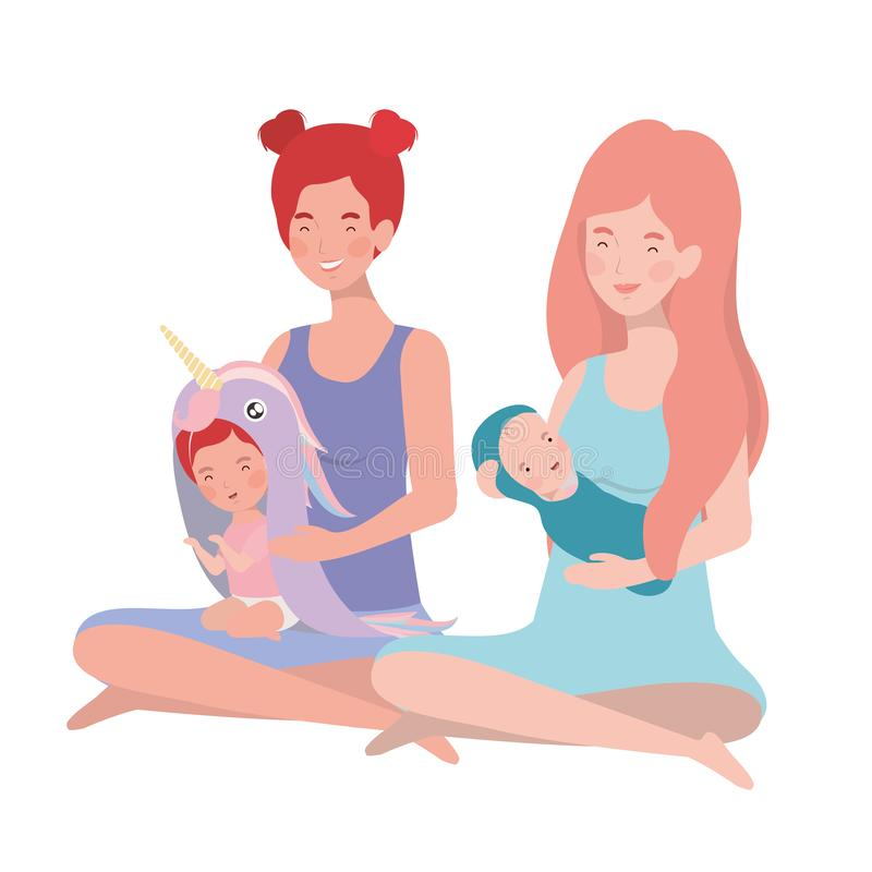 Cute pregnancy mothers seated lifting little babies characters. Vector illustration design stock illustration