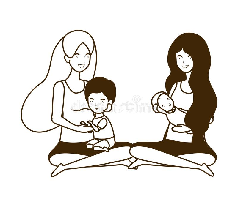 Cute pregnancy mothers seated lifting little babies characters. Vector illustration design vector illustration