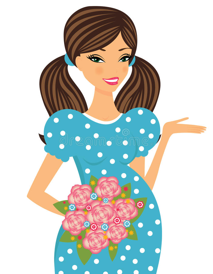 Cute pregnant woman posing with a bouquet of roses vector illustration