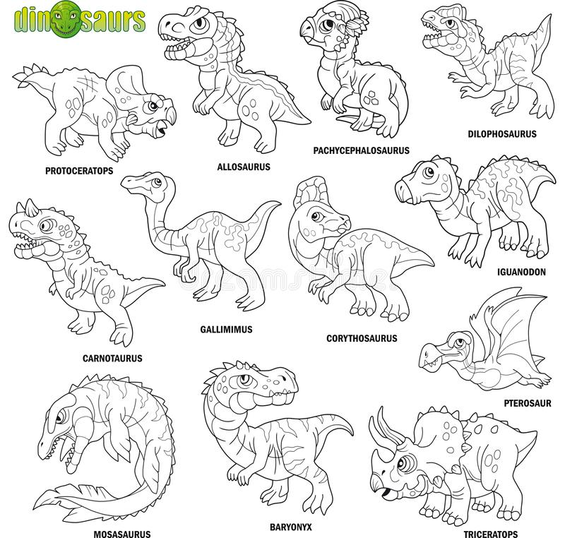 Cute prehistoric dinosaurs, coloring book, image set vector illustration