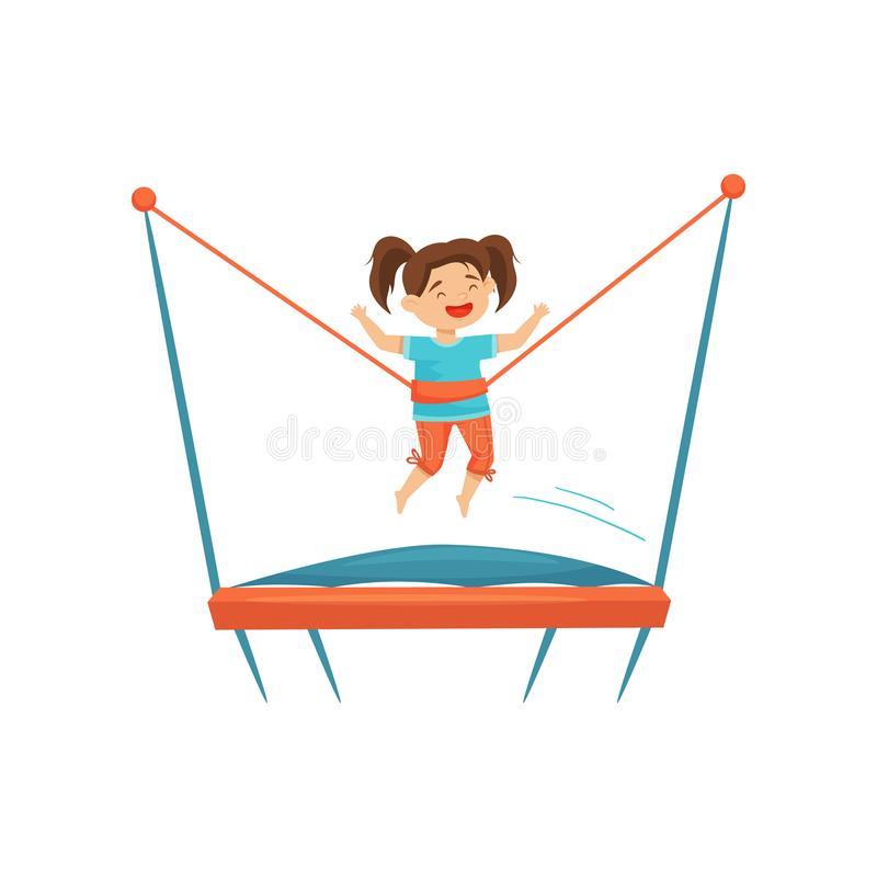 Cute preschool girl jumping on trampoline. Children recreation. Active leisure. Happy childhood. Flat vector design. Cute preschool girl jumping on trampoline royalty free illustration