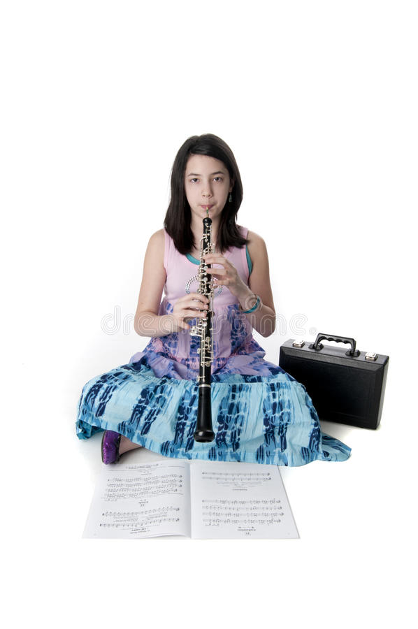 Cute Preteen Musician stock images