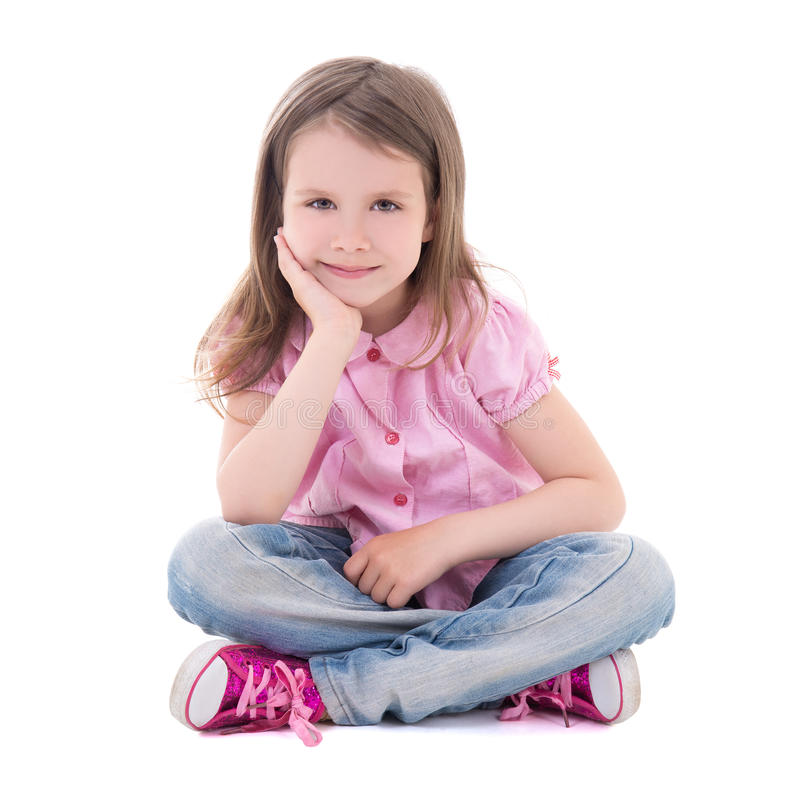 Cute pretty little girl sitting isolated on white royalty free stock photo