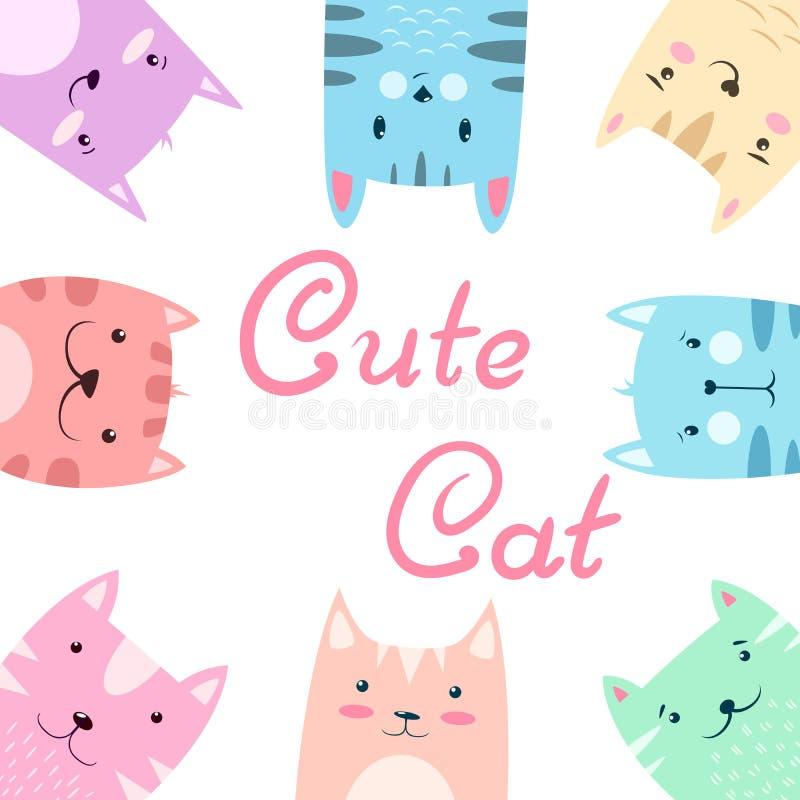 Cute pretty set cat, kitty illustration. Hand draw royalty free illustration