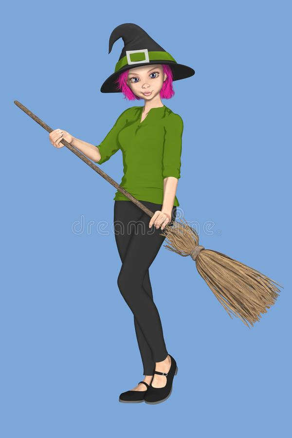 Halloween Cute Witch With Pink Broom Stock Vector Illustration Of Familiar Female 73160756