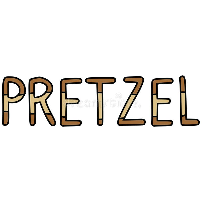 Cute pretzel typography cartoon vector illustration motif set. Hand drawn isolated fresh baked lettering elements clipart for vector illustration