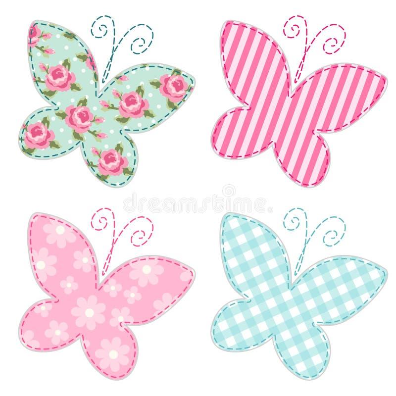Cute primitive retro butterflies as textile patch applique stock illustration