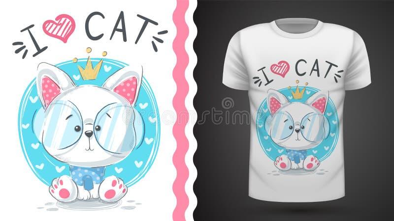 Cute princes cat - idea for print t-shirt. Hand draw stock illustration