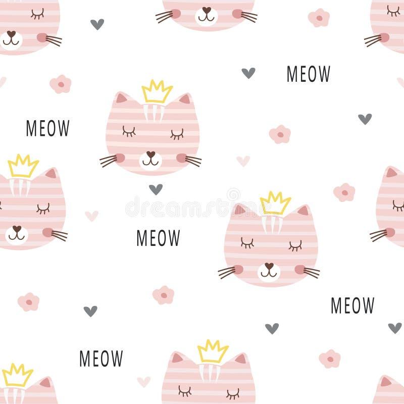 Free Cute Princess Cats Seamless Pattern Stock Photos - 132523733