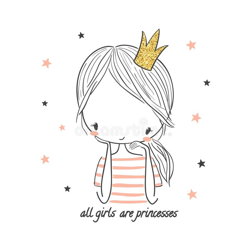 Cute princess girl. Fashion illustration for kids royalty free illustration