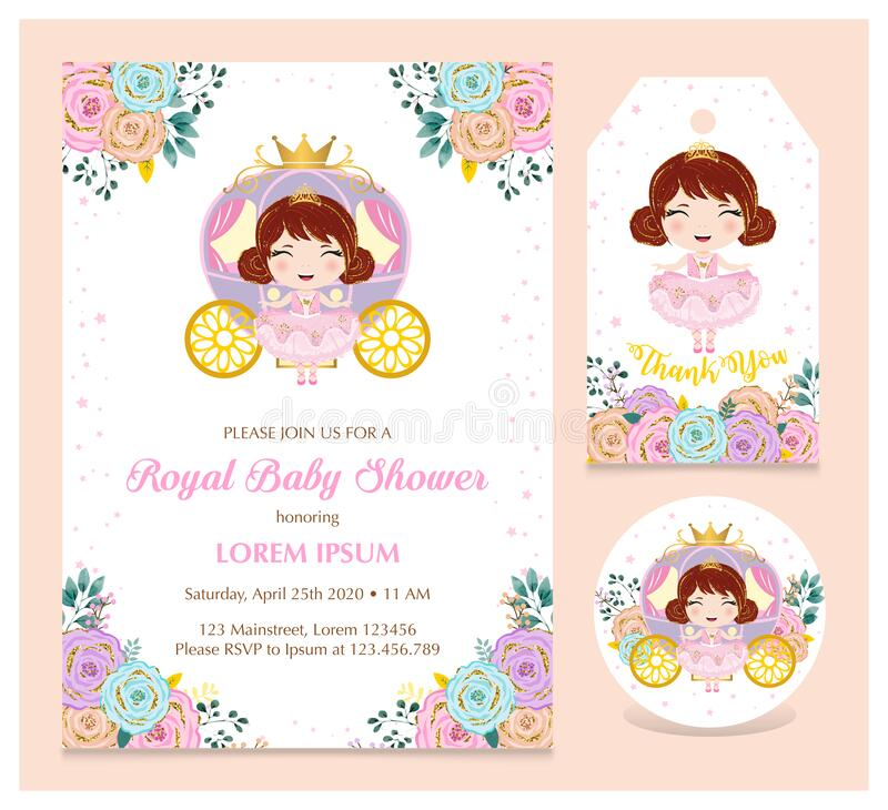 Cute princess invitation set with coaster and thank you tag stock images
