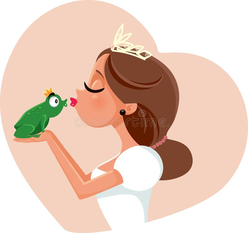 Cute Princess Kissing Prince Frog Illustration royalty free illustration
