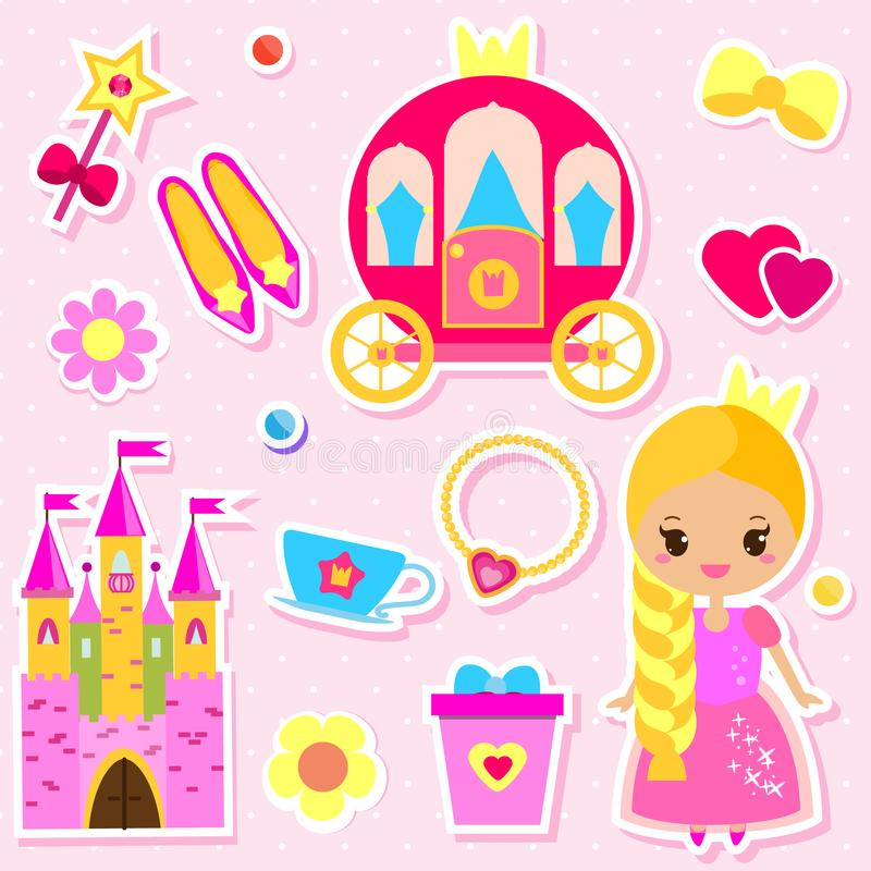 Cute Princess Paper Doll And Fairy Tales Accessories Stickers Set