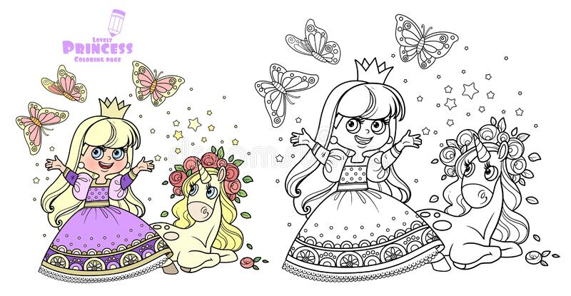 Princess In Purple Dress With Cute Unicorn Baby In Roses Wreath Outlined And Color For Coloring Book Stock Vector Illustration Of Girls Communication 198497399