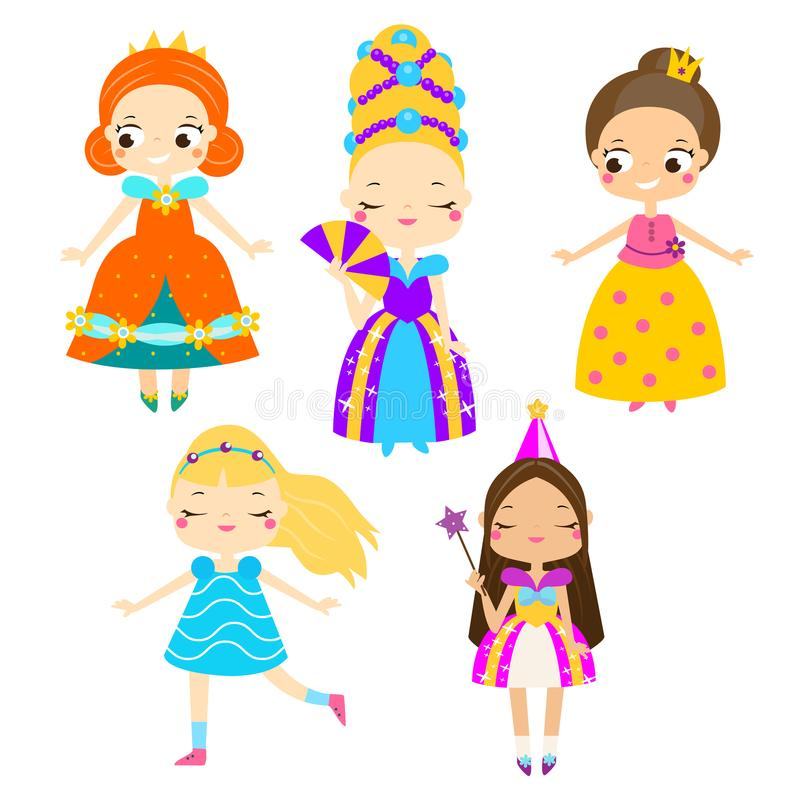Cute princess set. Girls in queen dresses. Vector collection of cartoon fairy tales characters stock illustration