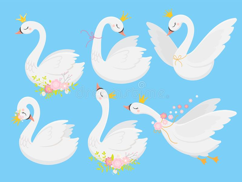 Cute princess swan. Beautiful white swans in gold crown, cartoon goose bird and duckling vector illustration set royalty free illustration