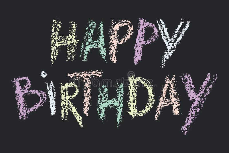 Download Cute Print With Lettering Hand Drawn Happy Birthday Words Wax Crayon Letters