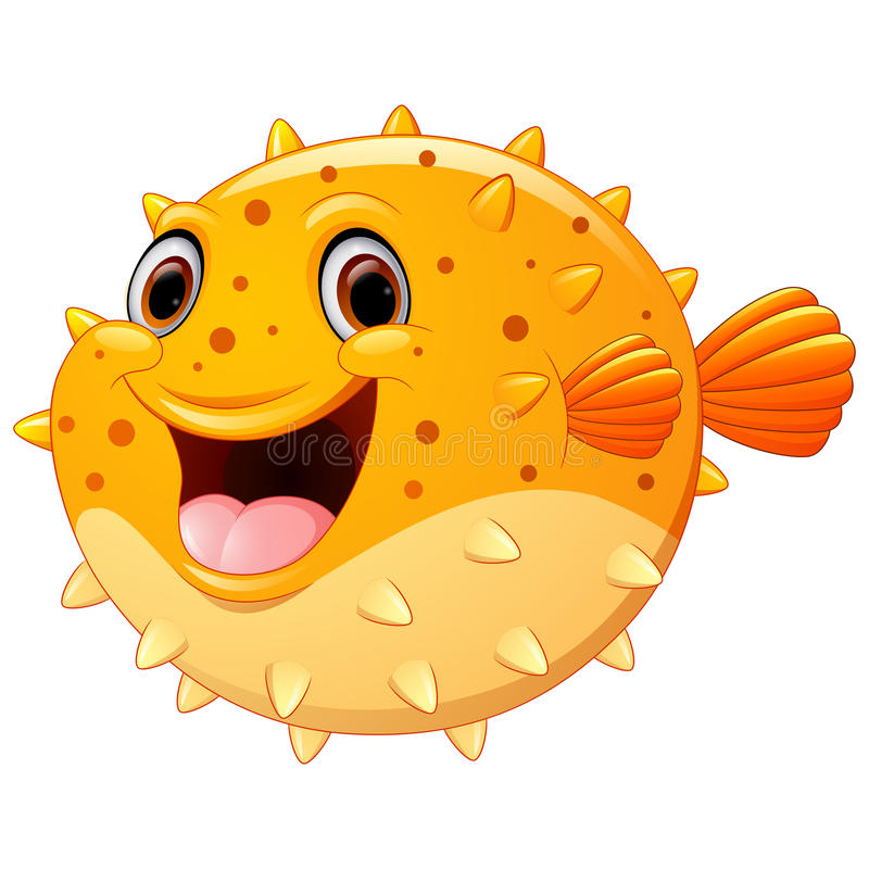 Cute puffer fish cartoon royalty free illustration