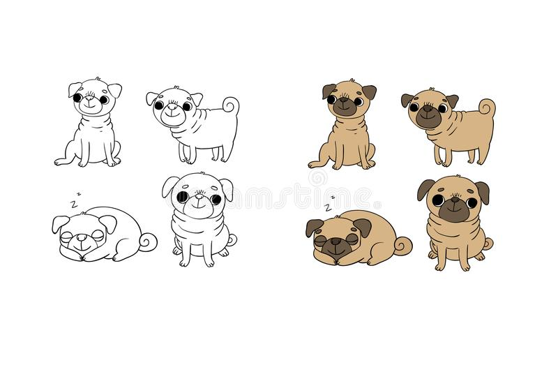 Cute Pugs. Dogs. Hand drawing isolated objects on white background. Vector illustration stock illustration