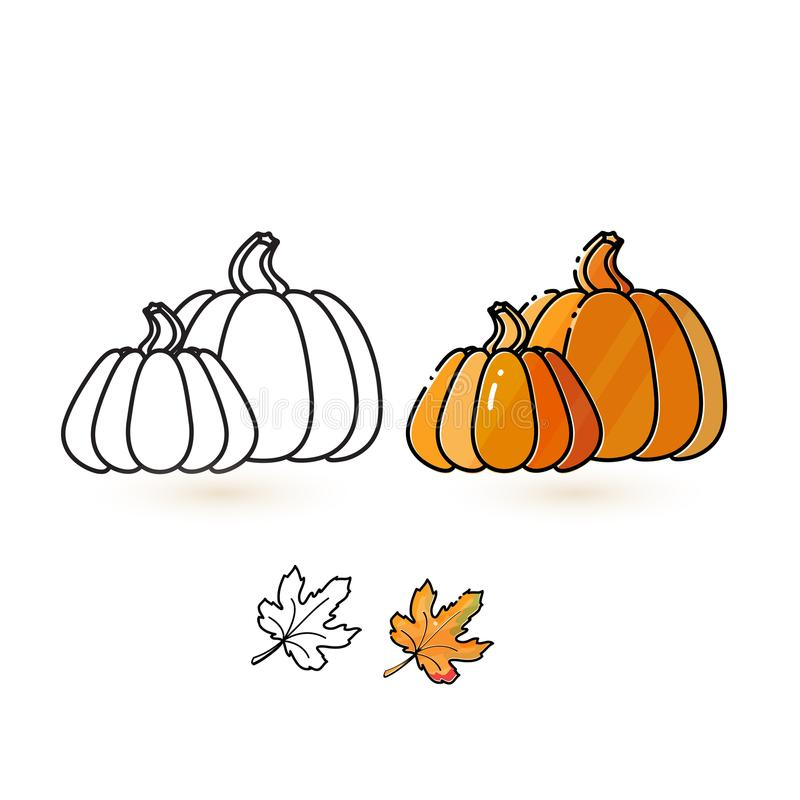 Free Cute Pumpkin And Leaf. Line And Colorful Pumpkin Icons. Stock Image - 103771011