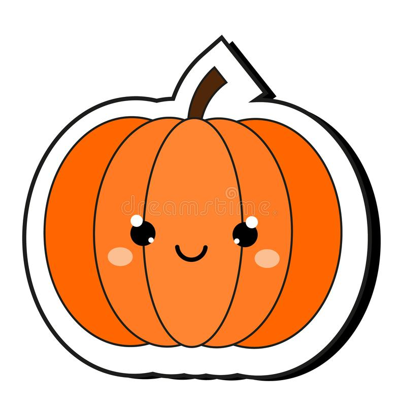 Cute pumpkin Halloween sticker. Isolaed clip art in kawaii style royalty free illustration