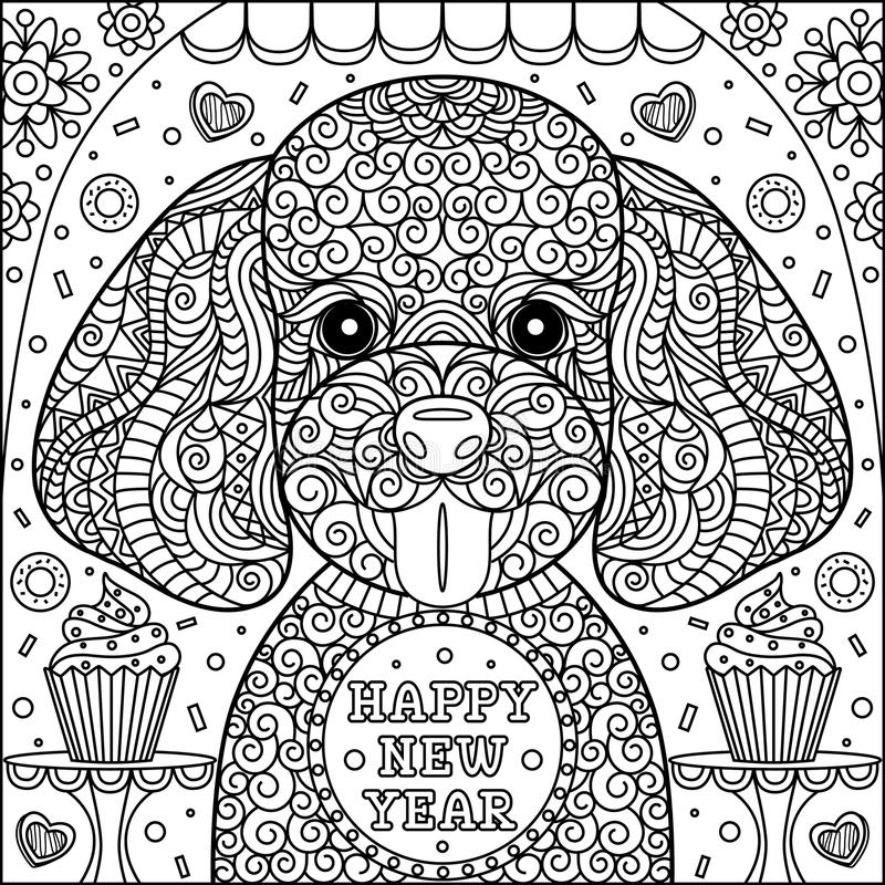 puppy coloring page stock vector illustration of