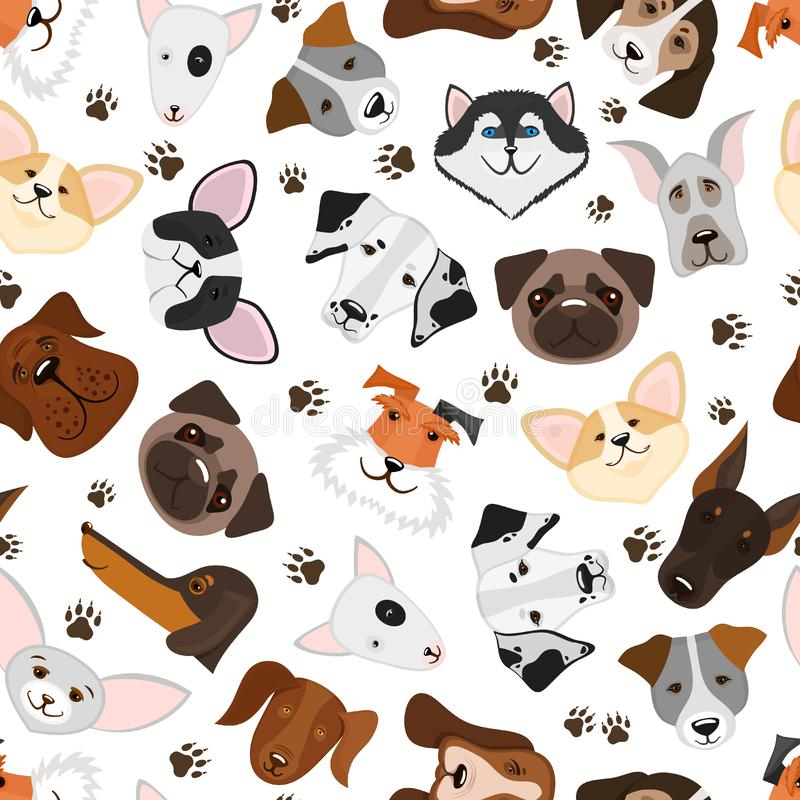 Cute puppy and dog mixed breed seamless pattern. Background with breed dog, illustration royalty free illustration
