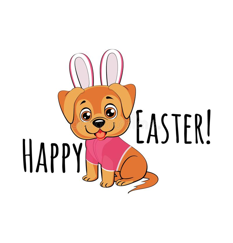 Cute puppy in easter bunny costume. A dog sits smiling in a pink suit with bunny ears on its head royalty free illustration