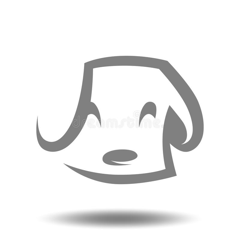 Free Cute Puppy Head Symbol, Icon On White Background Royalty Free Stock Images - 110594209