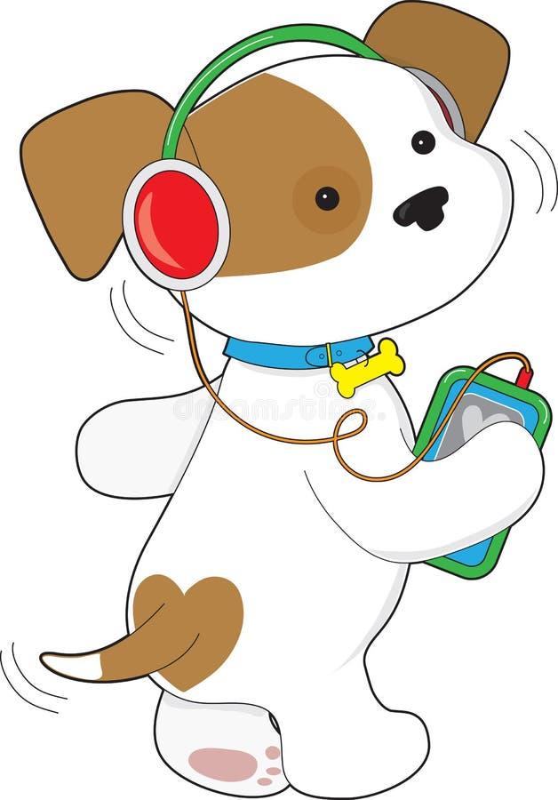 Cute Puppy Headphones royalty free illustration