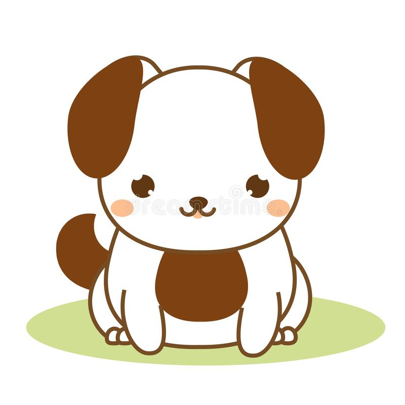 Cute puppy. Kawaii style. Dog sitting. Cartoon animal character for kids, toddlers and babies fashion. Vector illustration vector illustration