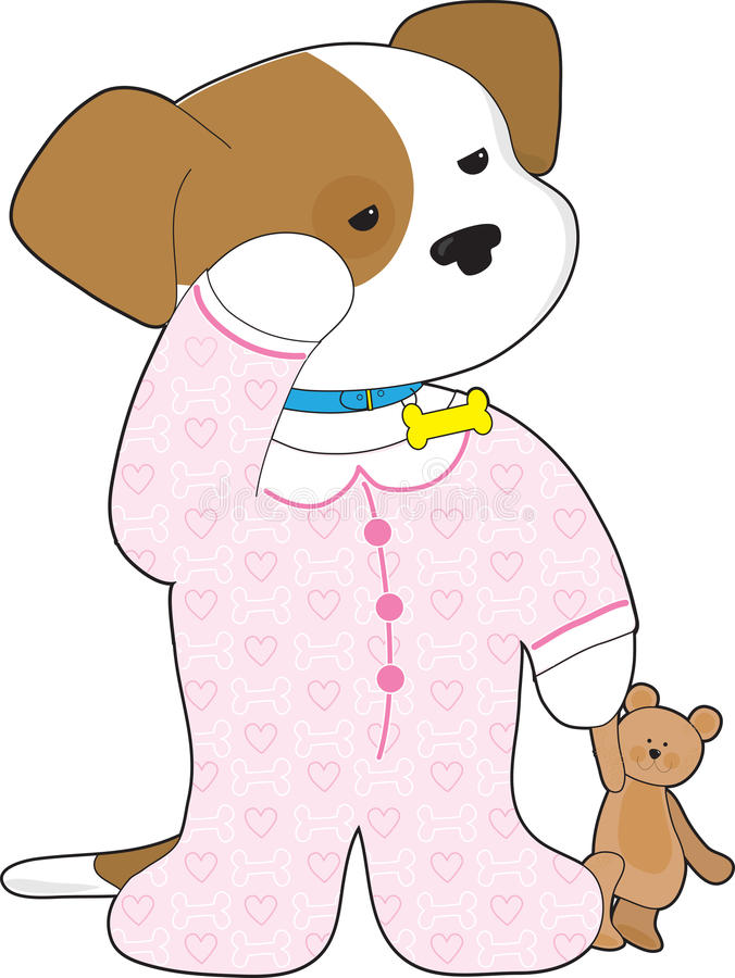 Download Cute Puppy Pajamas stock illustration. Image of domestic - 23955149