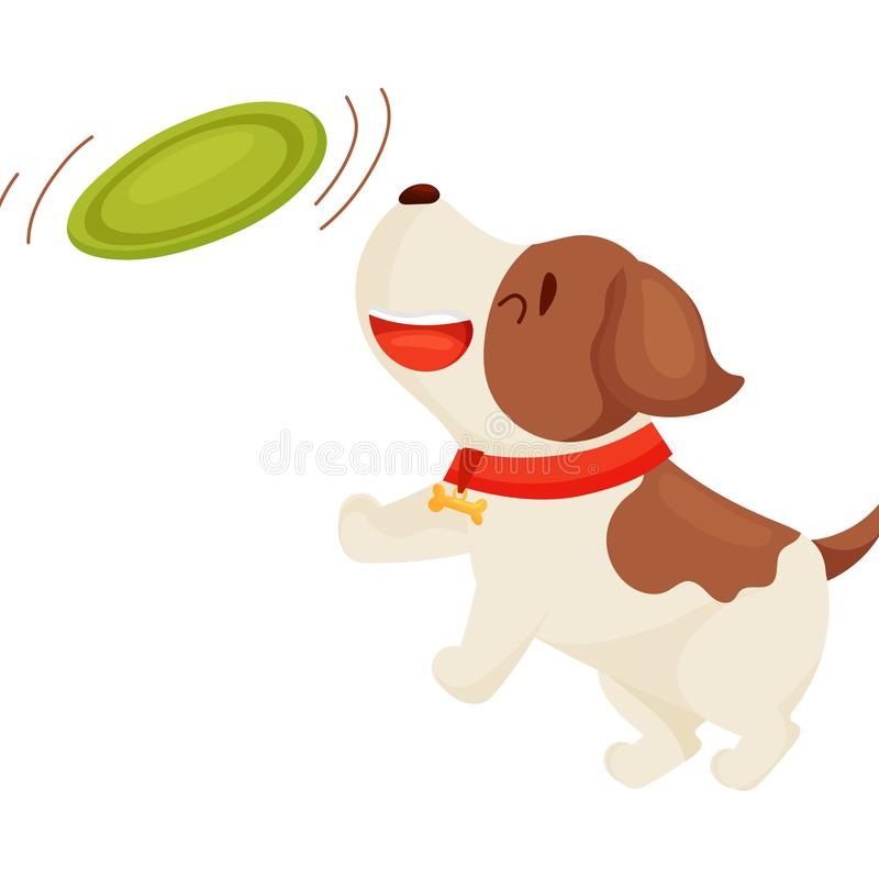 Cute puppy is playing. Vector illustration on white background. vector illustration