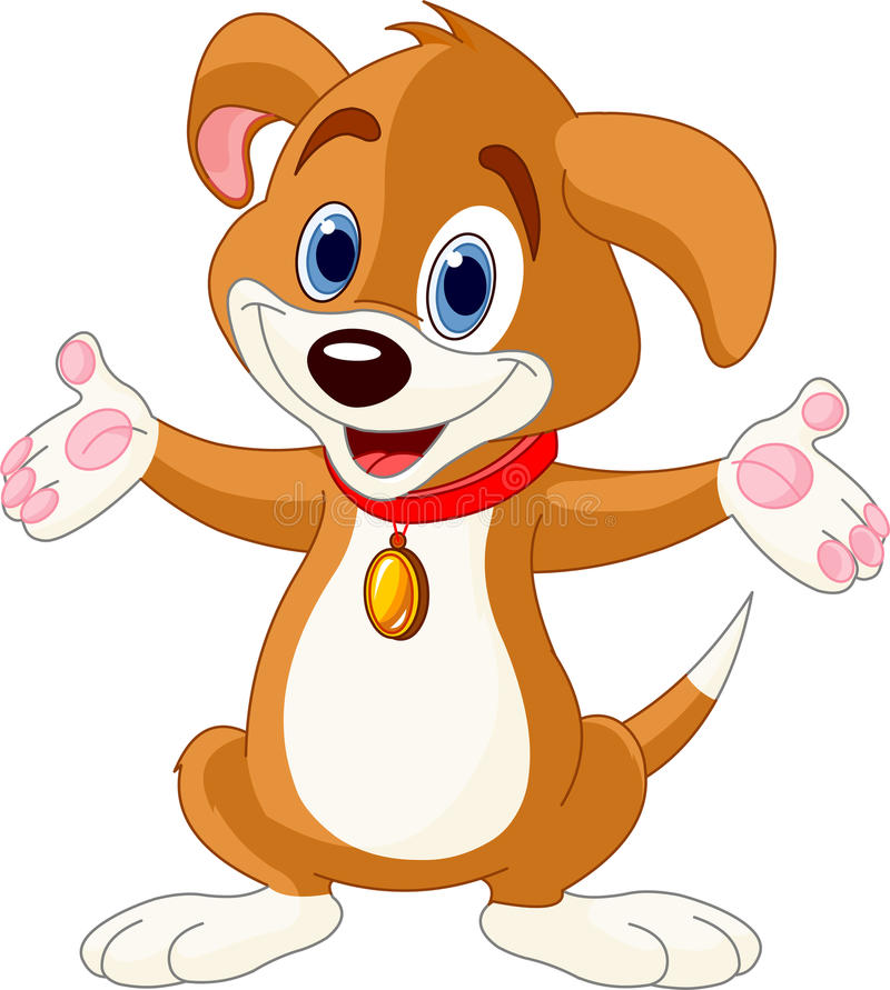 Cute Puppy raising his hands vector illustration