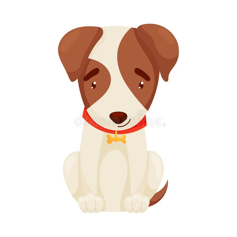 Cute puppy sitting. Vector illustration on white background. royalty free illustration